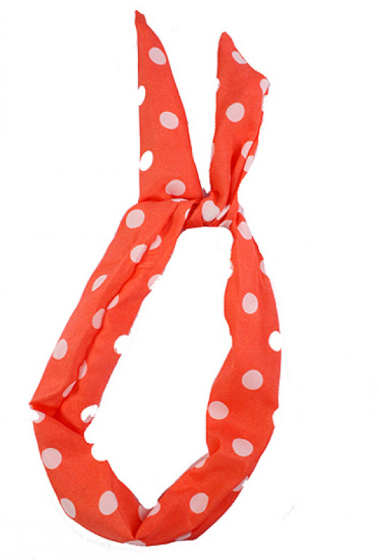 Head Piece - Retro Bliss Polka Dot Print Wired Headband Coral