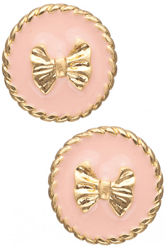 Earrings - Charm School Round Twist Trim Bow Stud Earrings in Pink