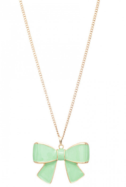 Necklace - Girls Rule Bow Pendant Necklace in Mint