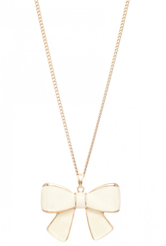 Necklace - Girls Rule Bow Pendant Necklace Ivory