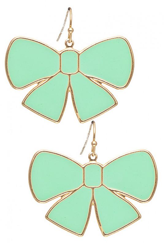 Earrings - Pretty Please Dangling Bow Charm Earrings in Mint