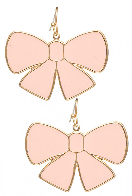 Earrings - Pretty Please Dangling Bow Charm Earrings in Pink