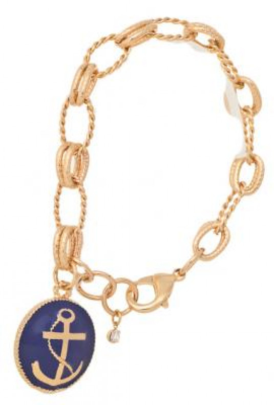 Bracelet - Anchors Aweigh Pendant Chain Bracelet in Navy