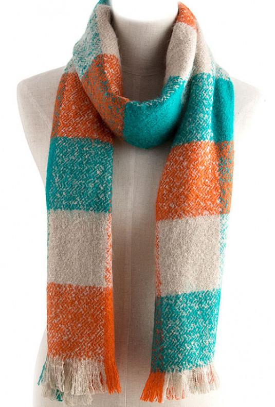Orange Teal Scarf - Against the Odds Oversized Checker Print Muffler Scarf