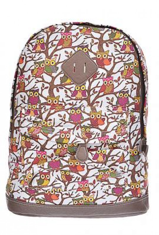 Backpack - Hoot Hoot Hooray Owl Print Canvas Ivory Backpack