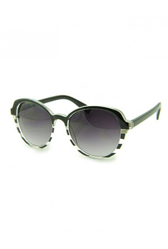 Sunglasses - Day at Sea Nautical Striped Black Sunglasses