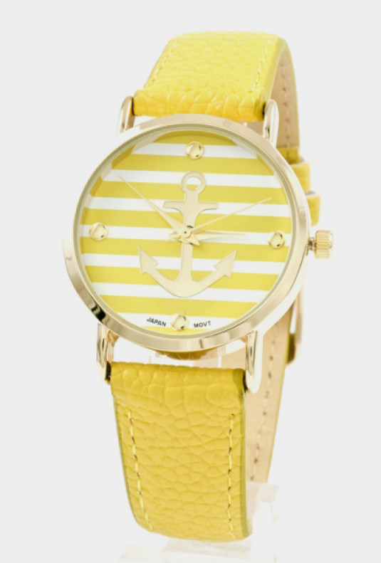Watch -Nautical Hour Anchor Striped Watch in Mustard