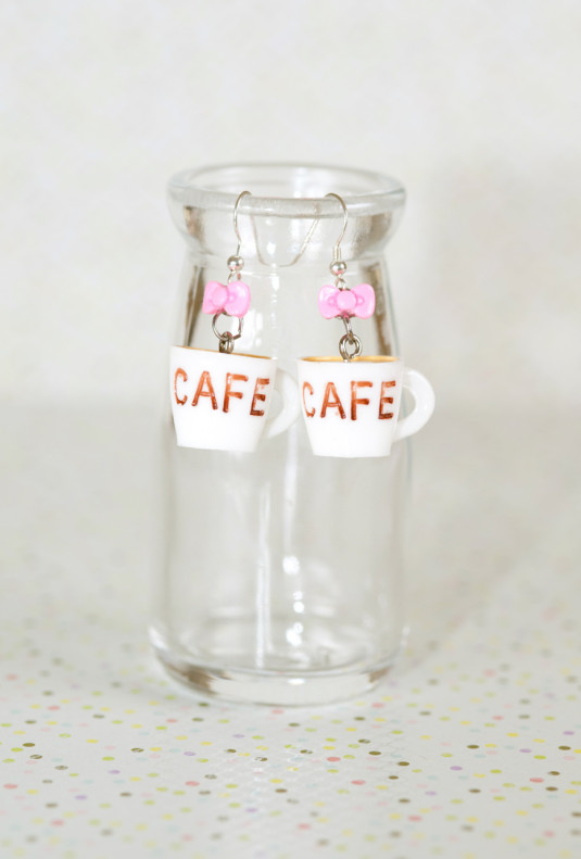 Earrings- Aroma Coma Coffee Mug Bow Earrings in Cloud White