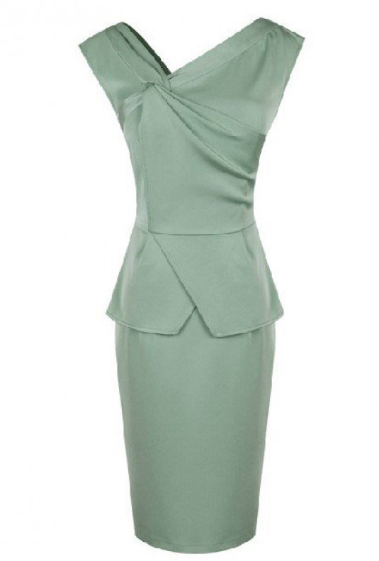 Mint Asymmetric Peplum Dress