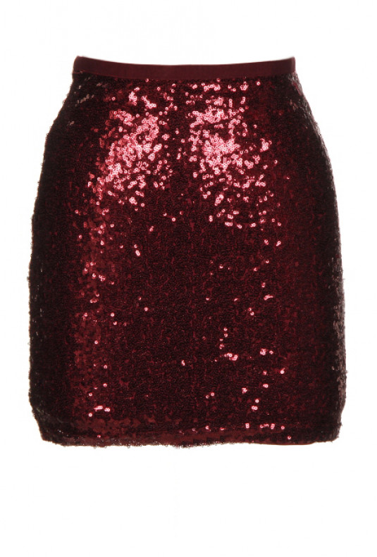 wine sequin mini skirt