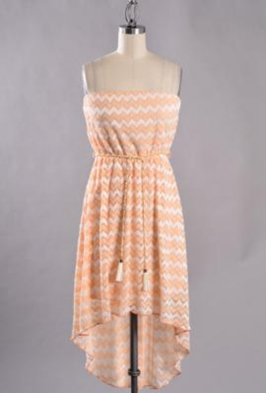 Beachside Resort Strapless Chevron Pattern Embroidered High Low Dress in Peach