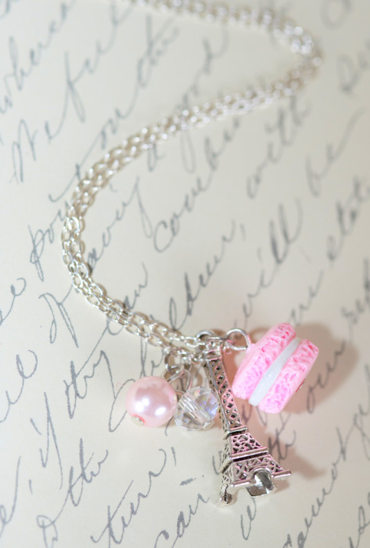 Necklace - Bonjour Cherie Macaron with Eiffel Tower Necklace