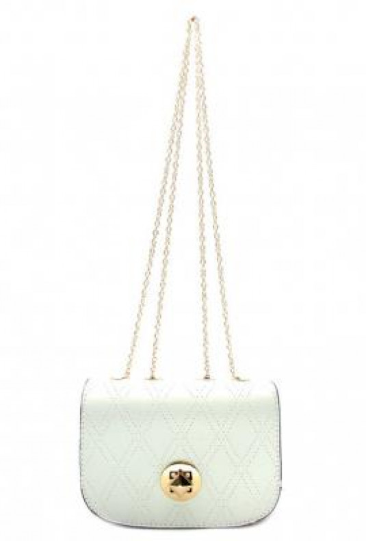 Purse - Sophisticated Confidence Lattice Detail White Chain Strap Purse