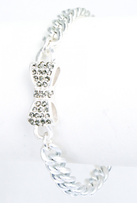 Bracelet - Friends Always Rhinestone Bow Toggle Bracelet in Mate Silver