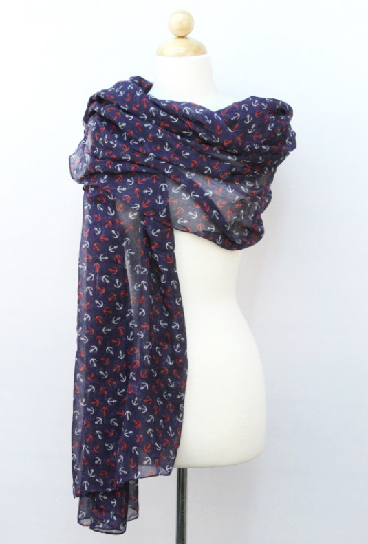 Scarf - Sea Wind Anchor Print Navy Blue Scarf