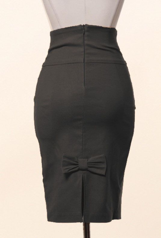 Business Casual Bow Back High Waist Pencil Skirt in Black ... 896c43c356d