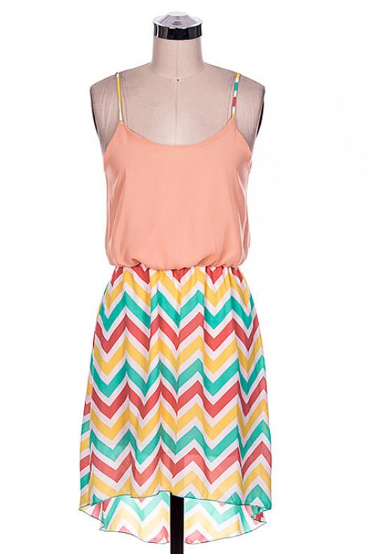Multicolor Chevron Contrast High Low Dress in Peach