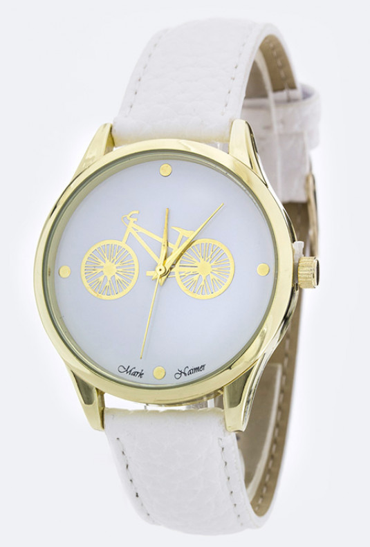 Classic Date Retro Bicycle White Watch