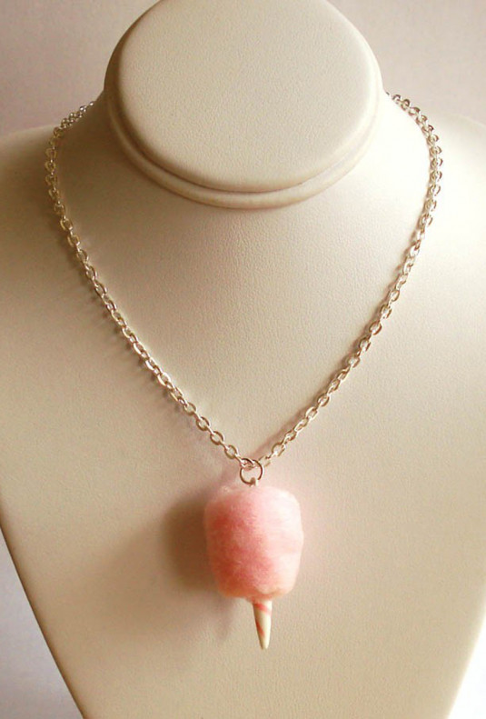 Necklace - Concession Delight Cotton Candy Charm Necklace Pink