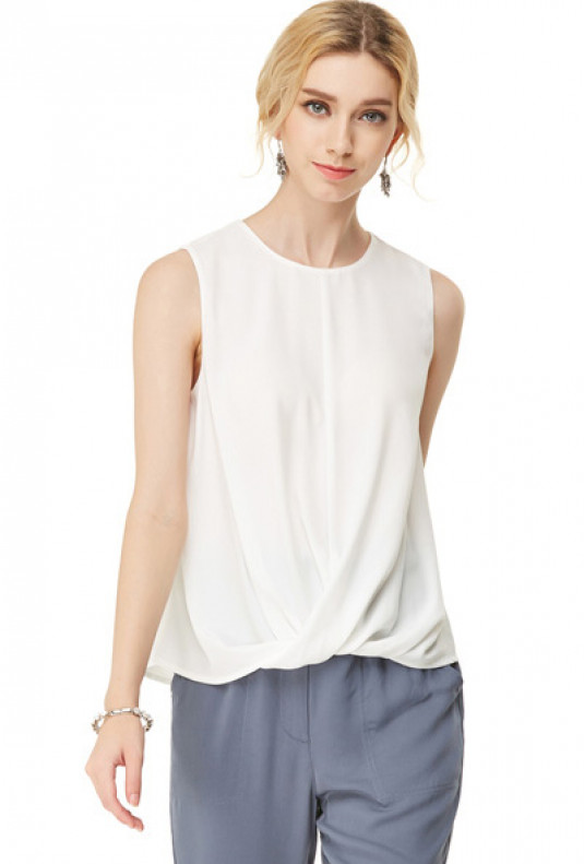 Twisted Hem Sleeveless Top in Off White
