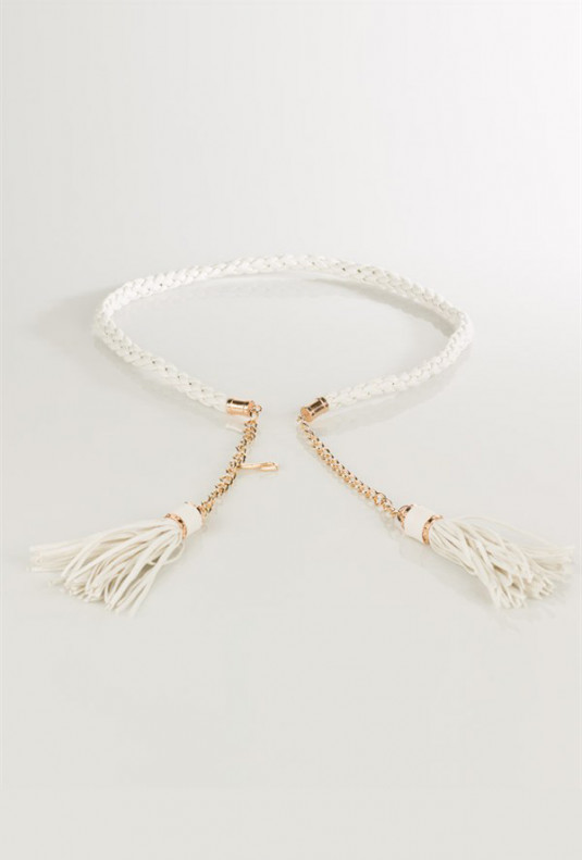 Braided Belt with Chain and Tassels