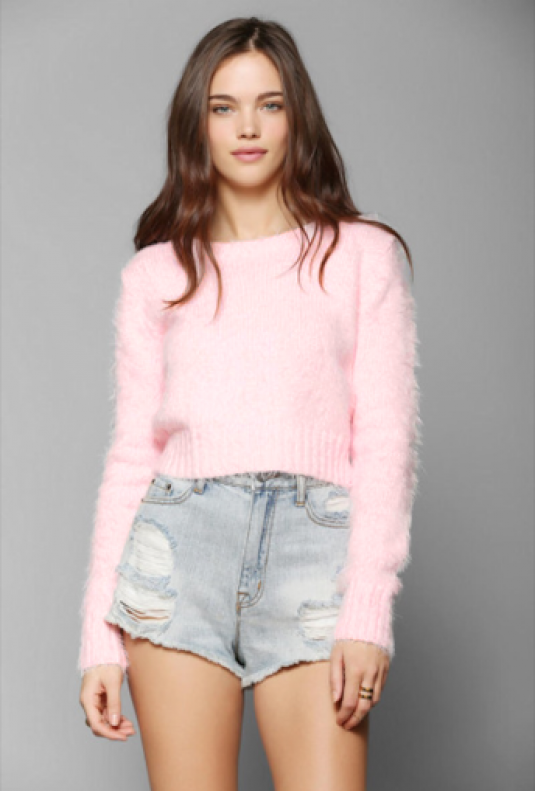 Cute Sweaters - Clueless Generation Fuzzy Crop Sweater in Pink