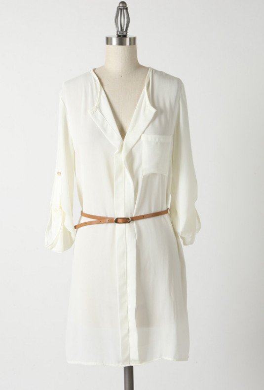 Deserted Island Belted Shirt Dress in Ivory