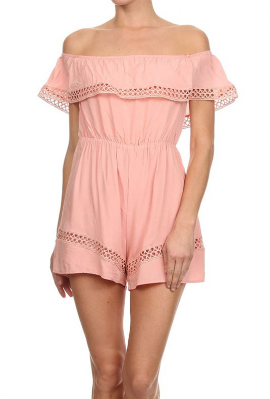 pink off shoulder romper