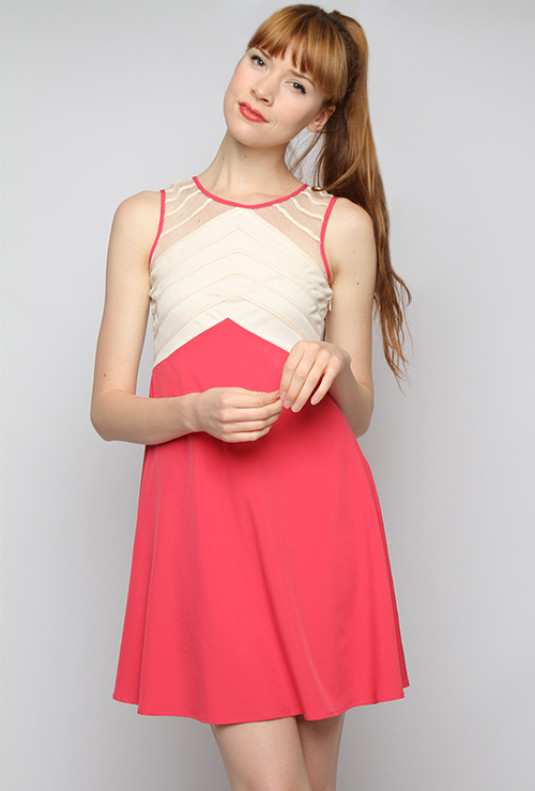 Mesh Yoke Contrast Shift Dress in Cherry