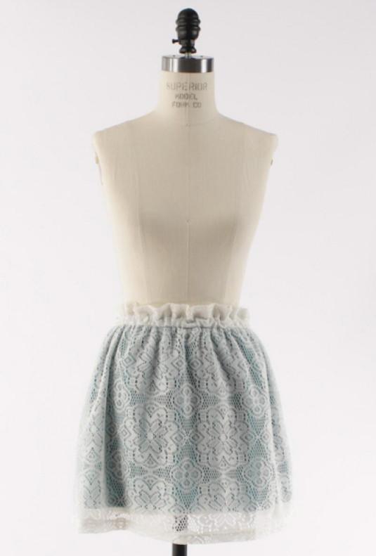 Paperbag Waist Lace Skater Skirt in Jade