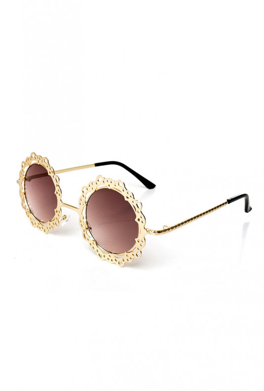 French Vintage Lace Trim Round Sunglasses Gold