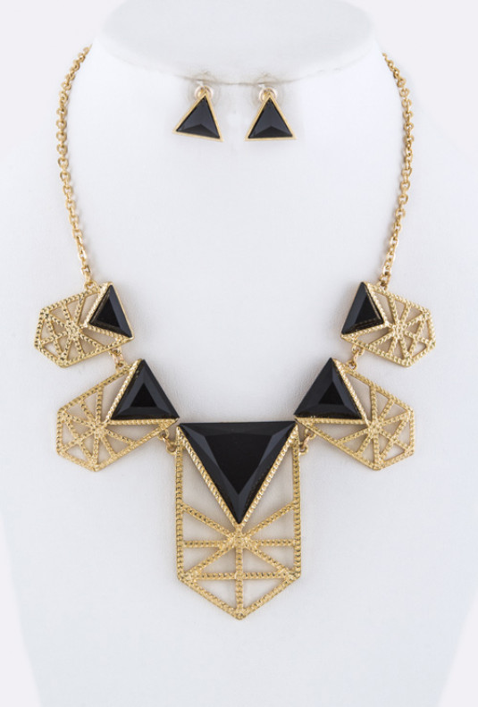 Necklace - Grand Scheme Geometric Statement Bib Necklace Gold