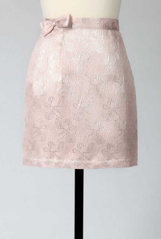 Jacquard Skirt with Bow in Pearlescent Pink