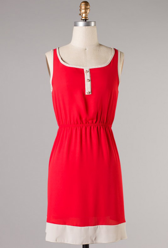 red sleeveless summer dress