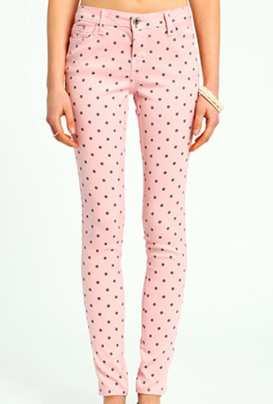 pink Polka Dot Skinny Jeans