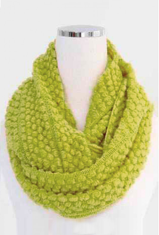 Scarf - Traveled Road Knitted Chartreuse Infinity Scarf