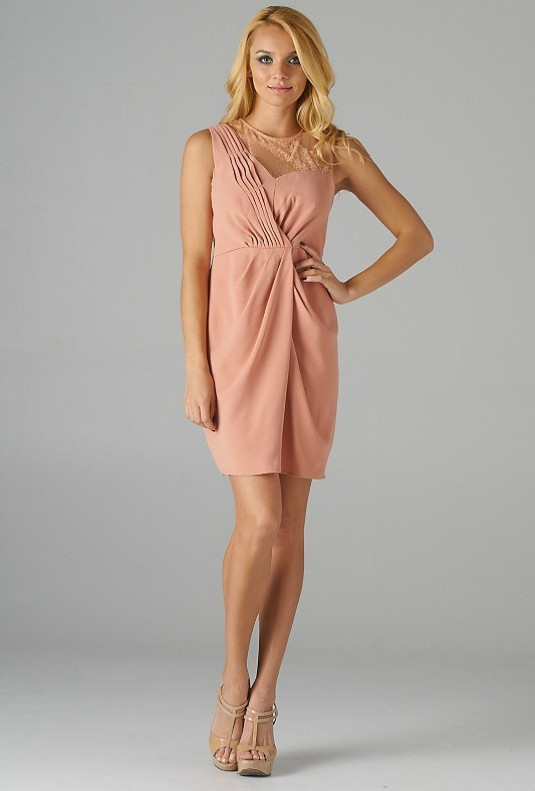 Pink Lace Mesh Asymmetric Cinched Dress