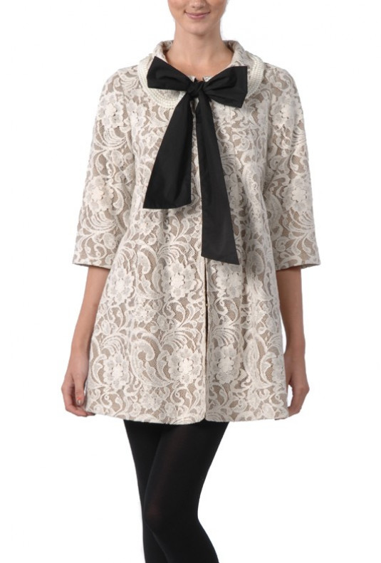 Lace 3-4 sleeve Bow Center Coat in Ivory