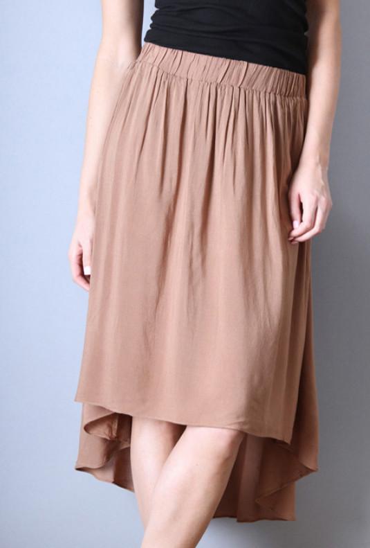 brown High Low Midi Skirt