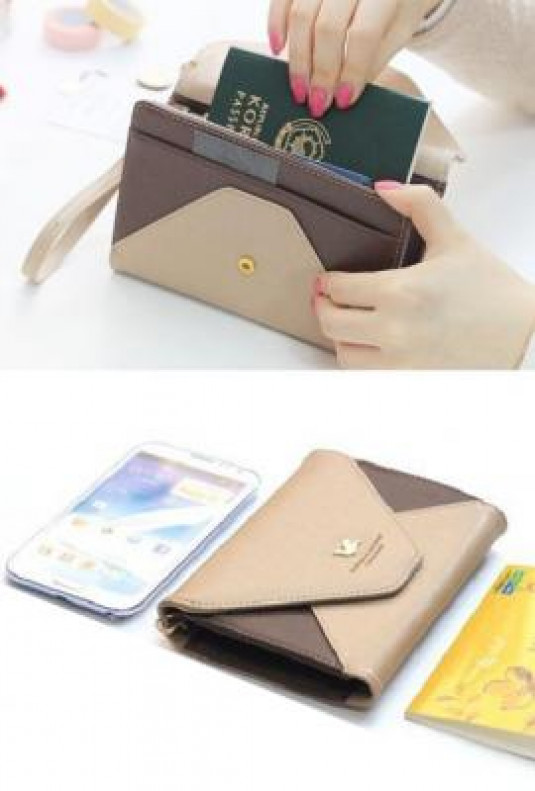 Cell Phone Brown Beige Wallet Wristlet