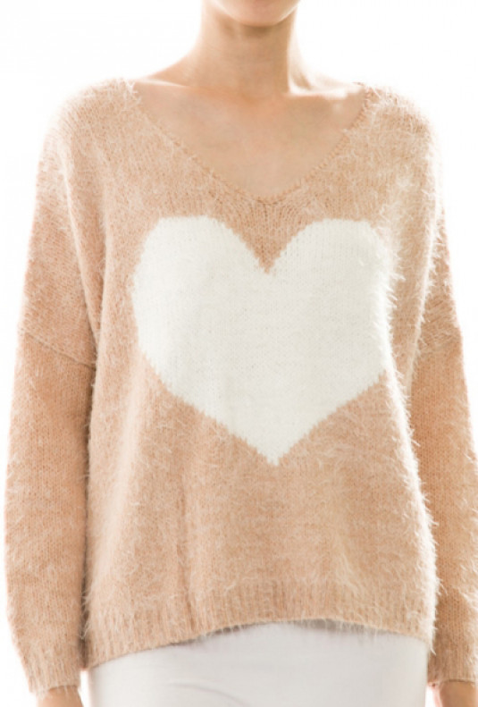 Pastel Pink Fluffy Heart Print Sweater