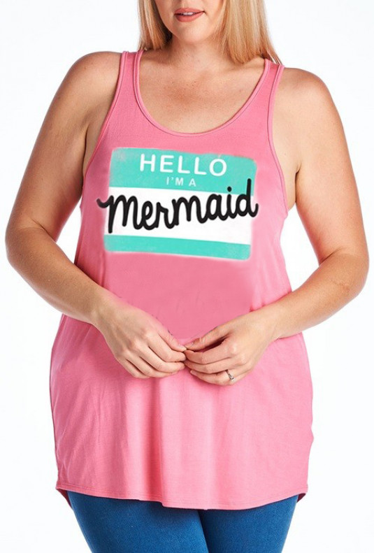 Hello I'm a Mermaid Graphic Tank pink Plus Size