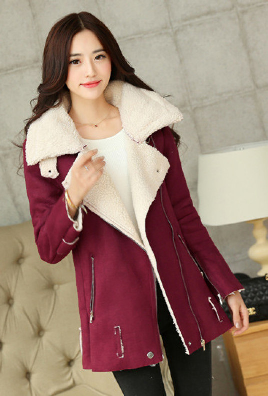Oversized Shearling Suede Jacket in Burgundy