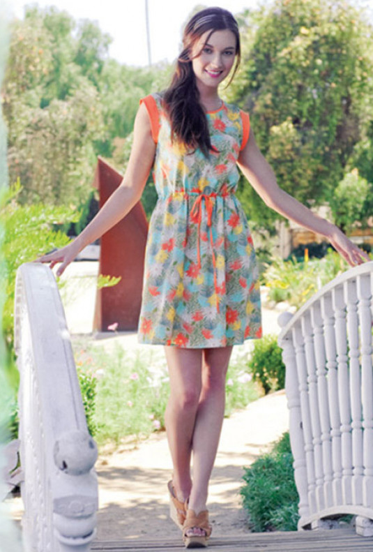 Sleeveless Palm Print Dress