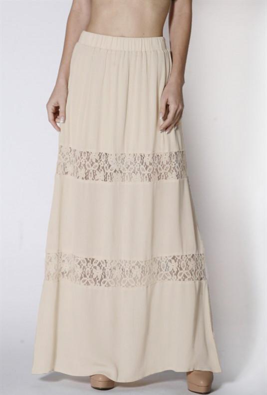 beige Lace Paneled Gauze Maxi Skirt