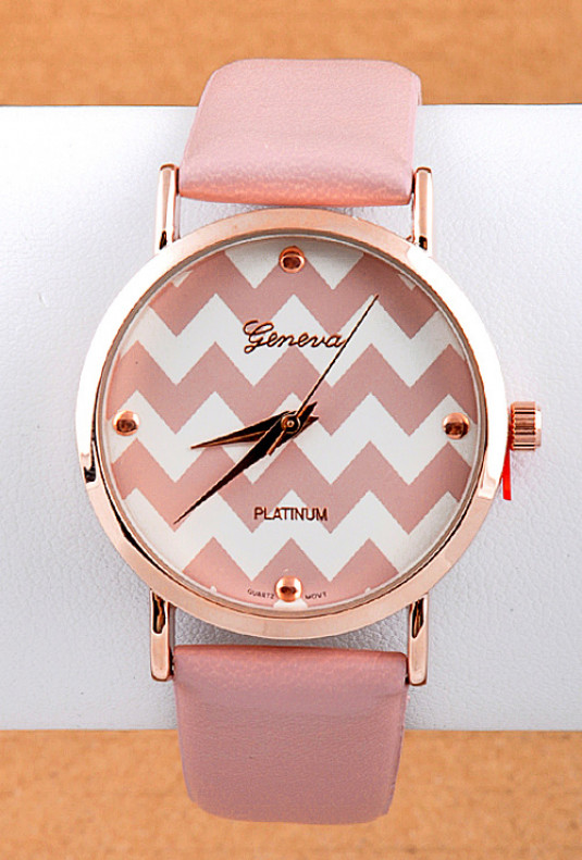 Watch - Perfect Timing Chevron Pattern Face Dust Pink Watch