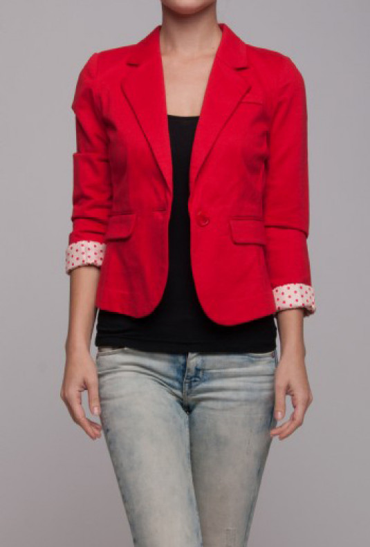 polka Dot Lined Cropped Red Blazer