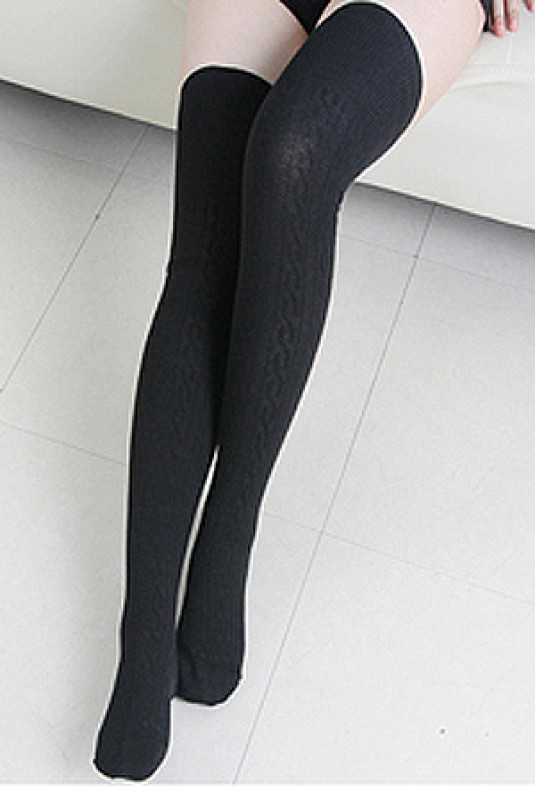 Preppy-Life-Cable-Knit-Thigh-High-Socks-black