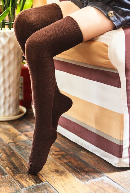 Preppy-Life-Cable-Knit-Thigh-High-Socks-brown