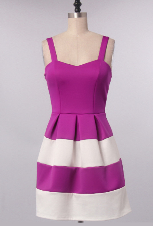 Berry Sweetheart Color Block Dress